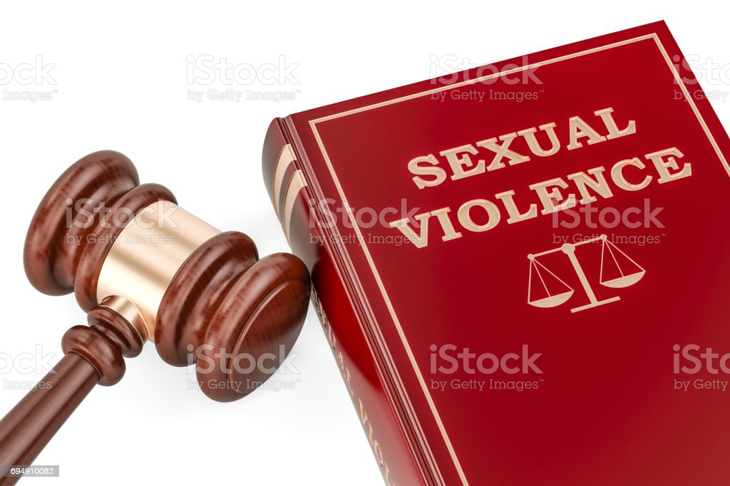 Sexual violence concept with gavel and book, 3D rendering stock photo