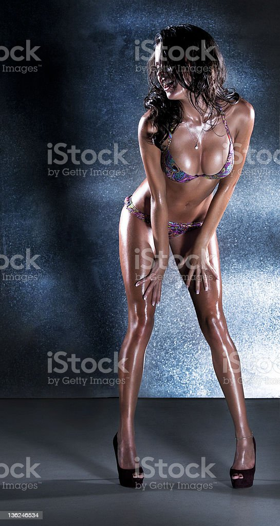 sexual wet lady in underclothes stock photo