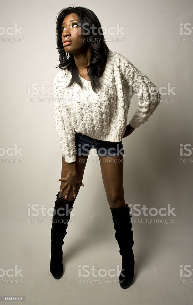 Sexy African American Female Model In Sweater And Leather -4749