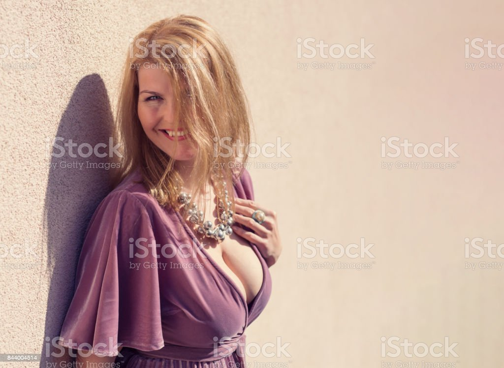 Sexy and fancy woman smiling stock photo