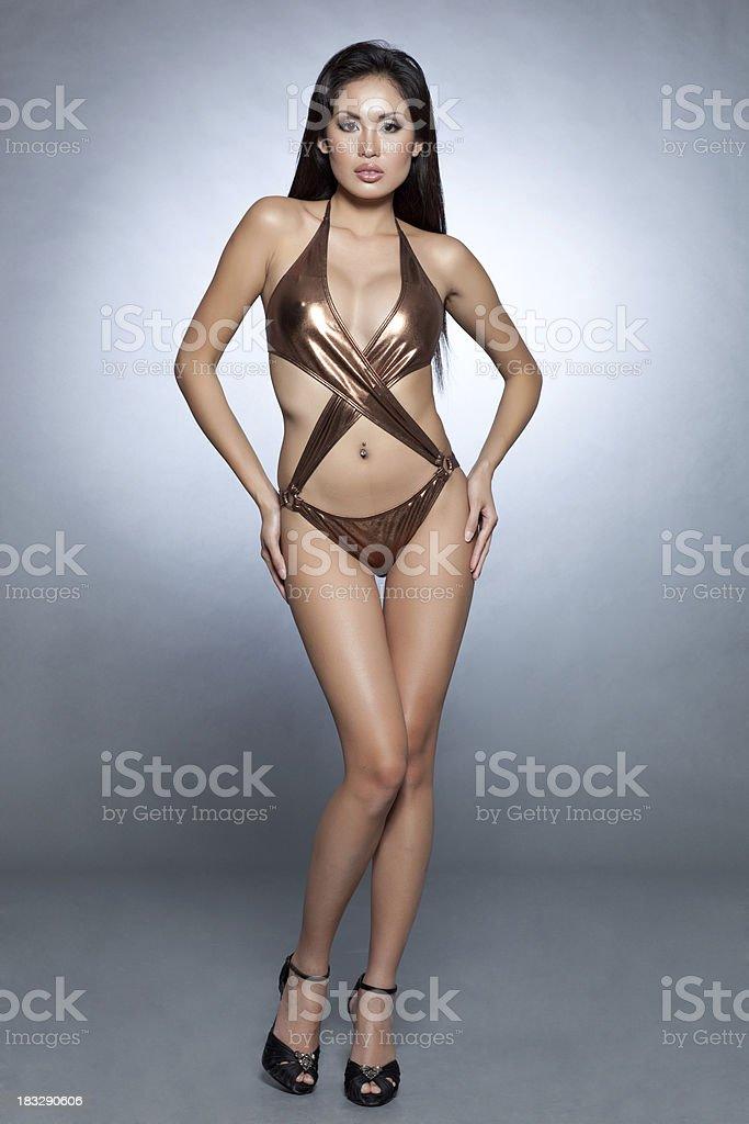 Sexy asian bikini babe stock photo