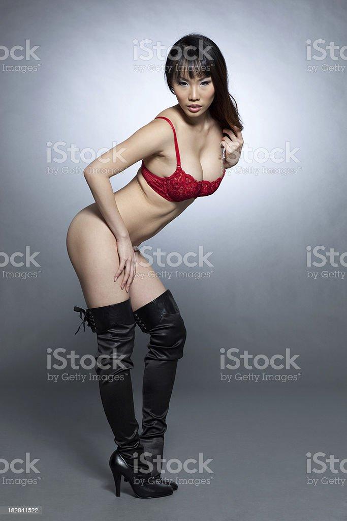 Sexy asian lingerie model stock photo