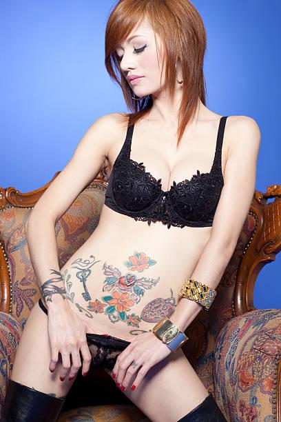 Modelo de lingerie Sexy asiática - foto de acervo