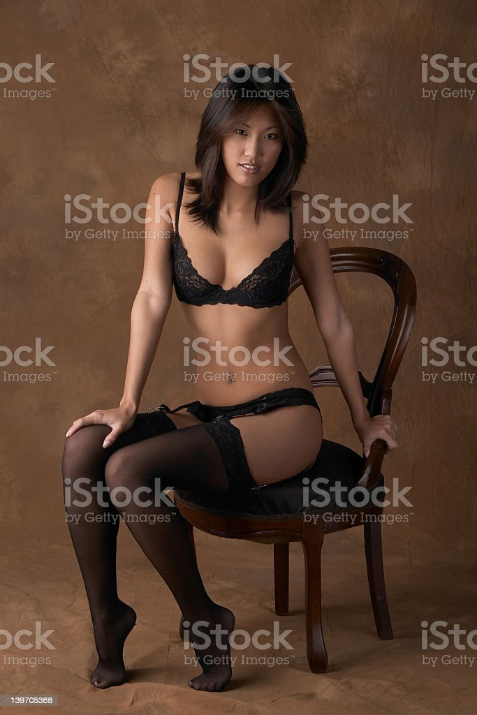 Sexy Asian woman in black stocking and lingerie stok fotoğrafı