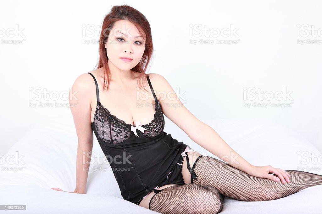 Sexy Asian Woman in Lingerie stok fotoğrafı