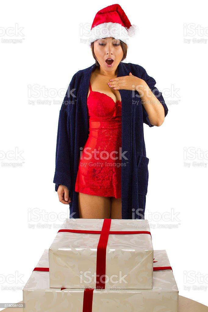 9aca1b31b Mulher asiática Sexy em Lingerie acordar para presentes de Natal foto  royalty-free