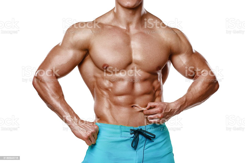 Sexy athletic man showing abdominal muscles without fat, Muscular male stock photo