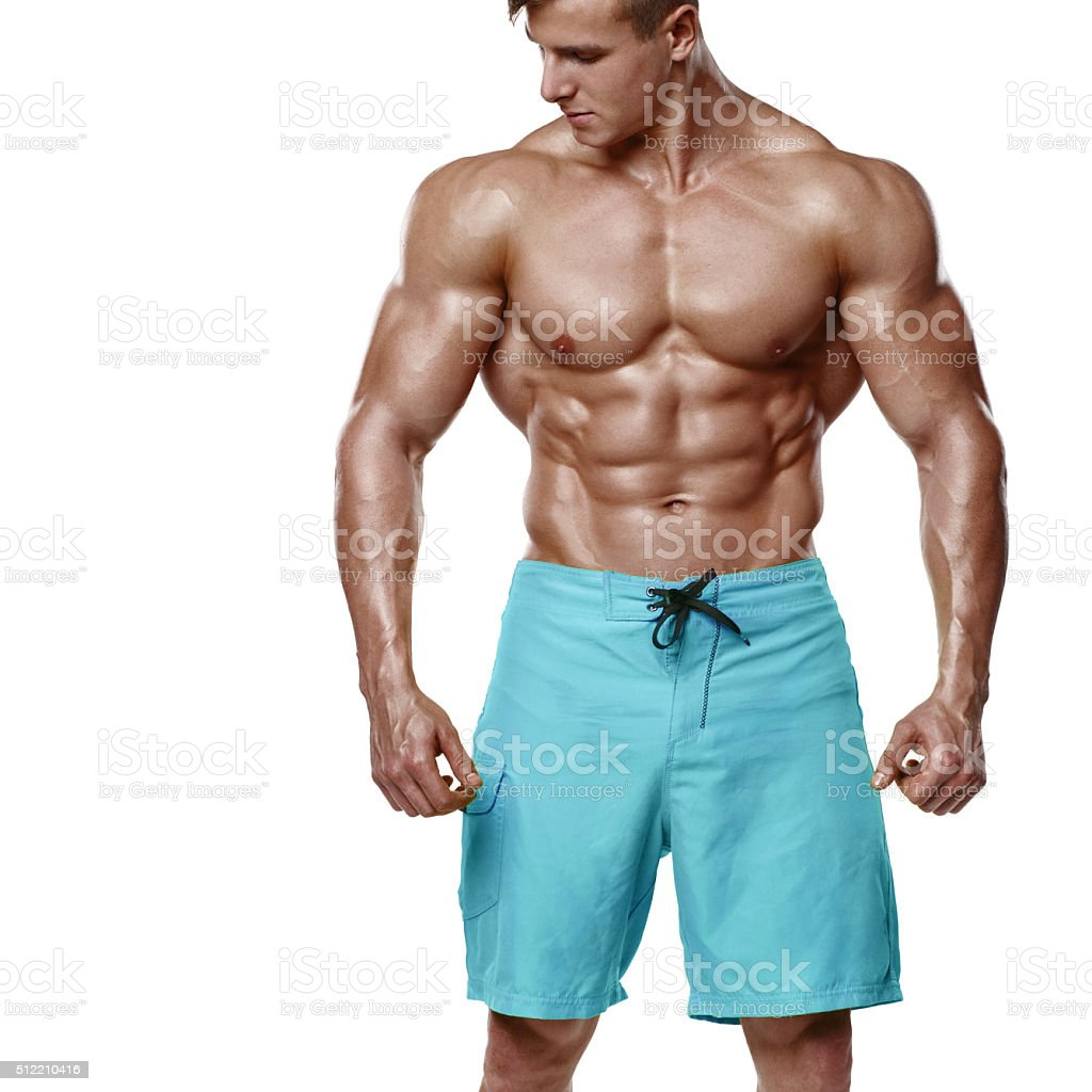 Sexy Athletic Man Showing Muscular Body Sixpack Abs Nacked Torso Royalty Free Stock
