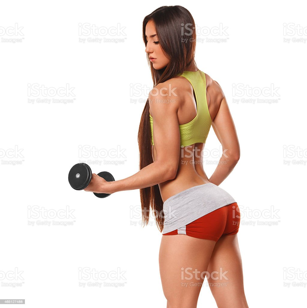 sexy athletic woman with dumbbells sexy ass in thong fitness girl