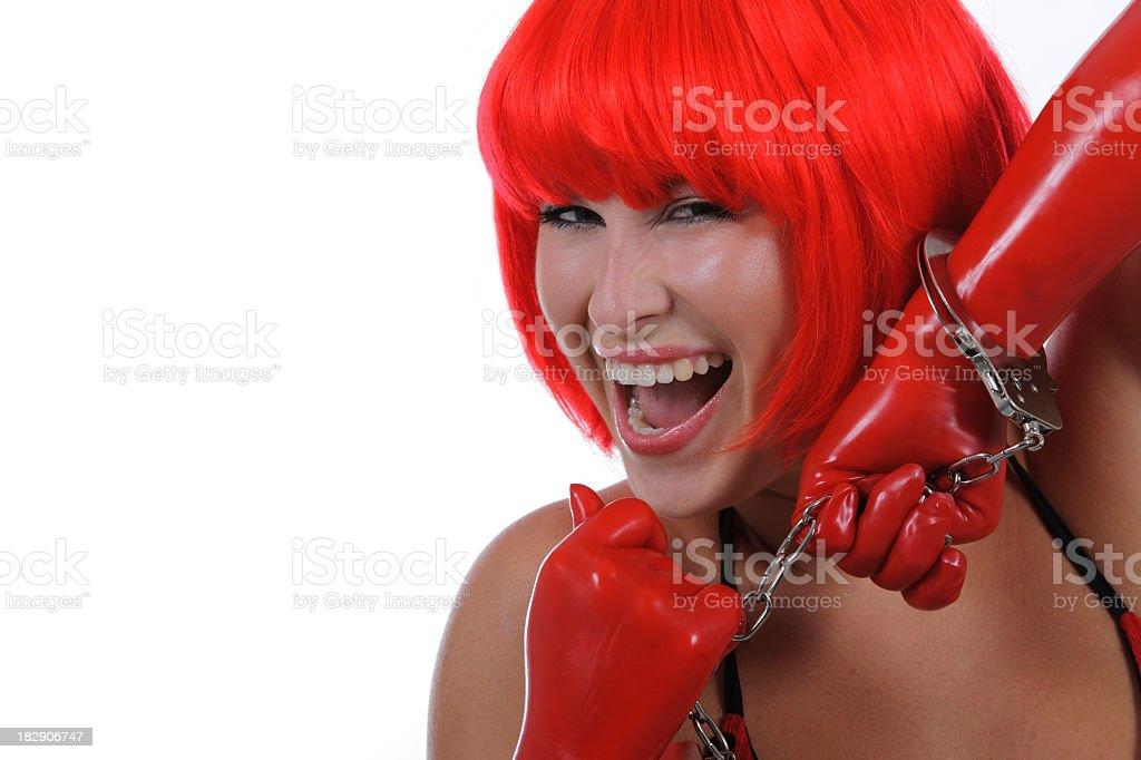 sexy attitude with hand cuffs stock photo