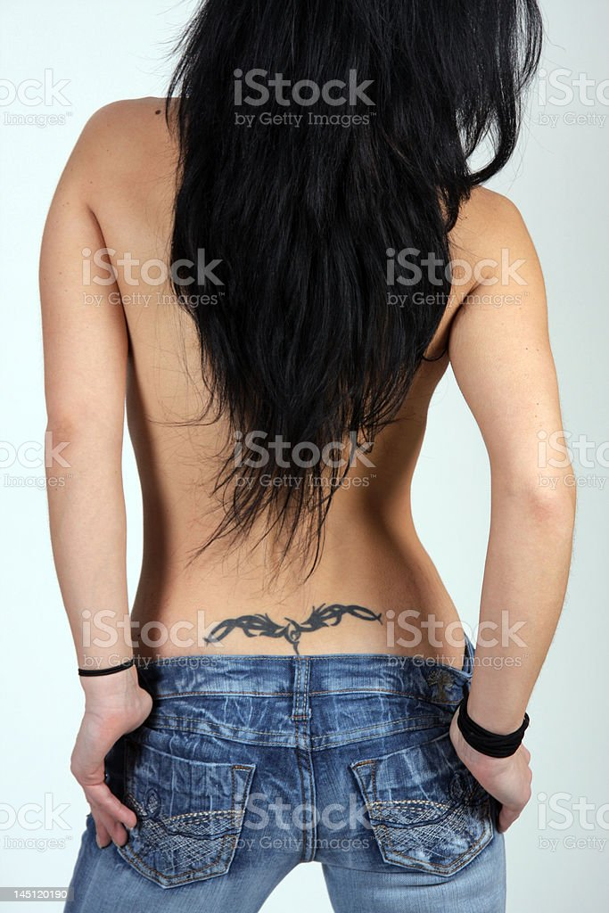 sexy back with long hair stock photo