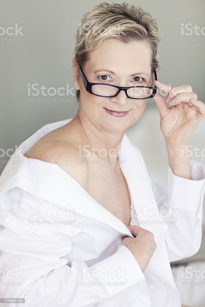 Sexy Beautiful 50year Old Woman On A Bed Stock Photo ...