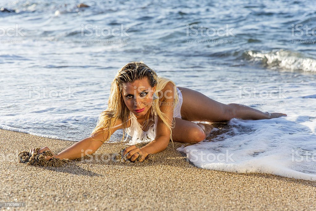 sexy beautiful model on the beach stock photo