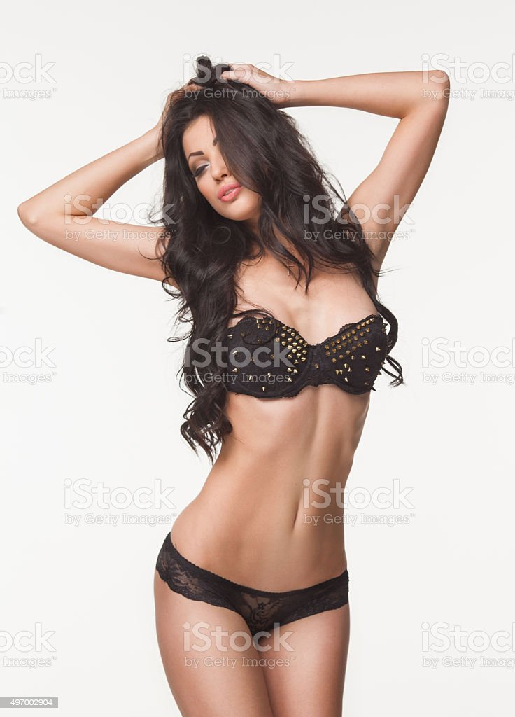 sexy beautiful woman in black lingerie stock photo
