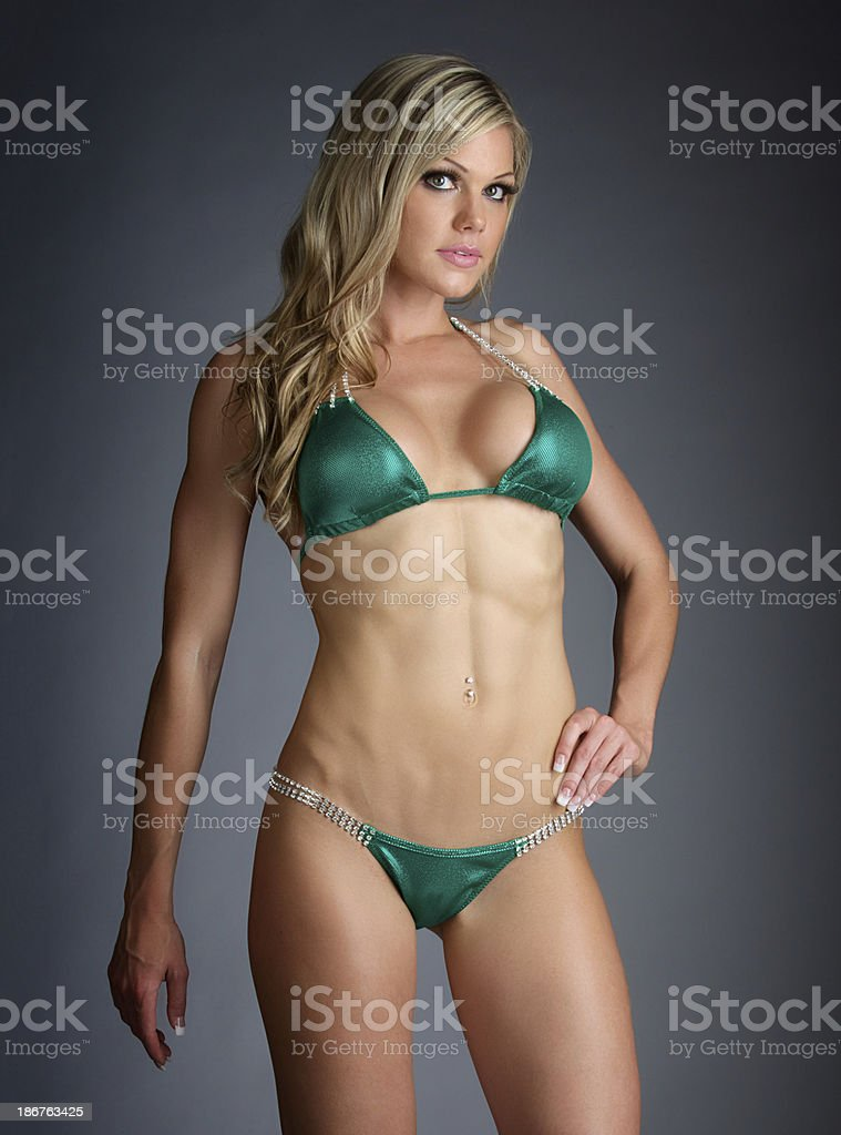 Sexy Beautiful Woman In Green Lingerie stock photo
