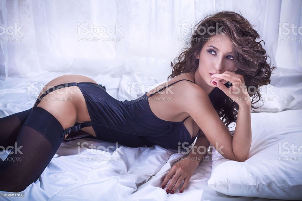 Sexy beautiful woman in lingerie stock photo