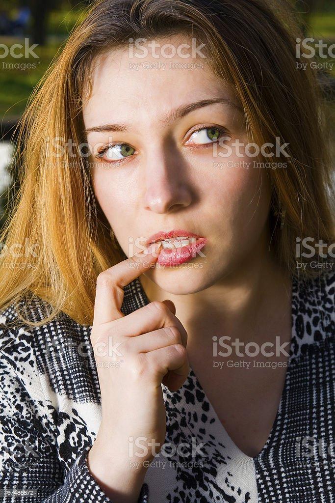 Sexy beautiful woman thinking royalty-free stock photo