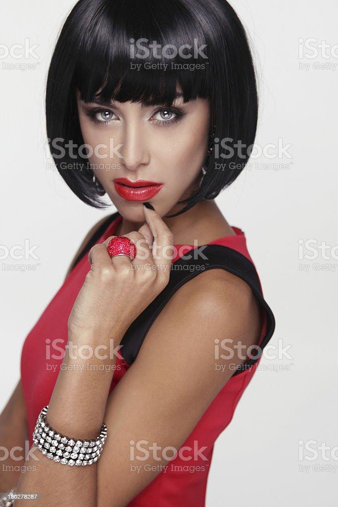 Sexy beauty brunette woman. Makeup. Stylish Fringe. Black Short royalty-free stock photo
