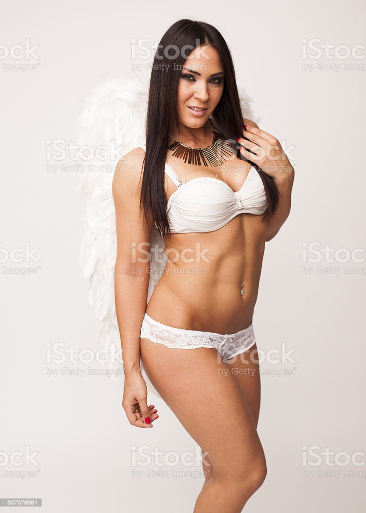 Sexy Big Breasted Lingerie Woman Wearing Angel Wings Royalty Free Stock Photo