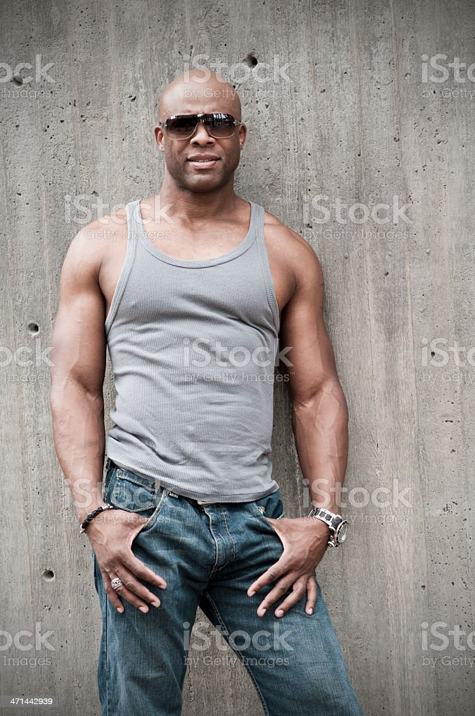 Sexy Black Man in Sunglasses stock photo