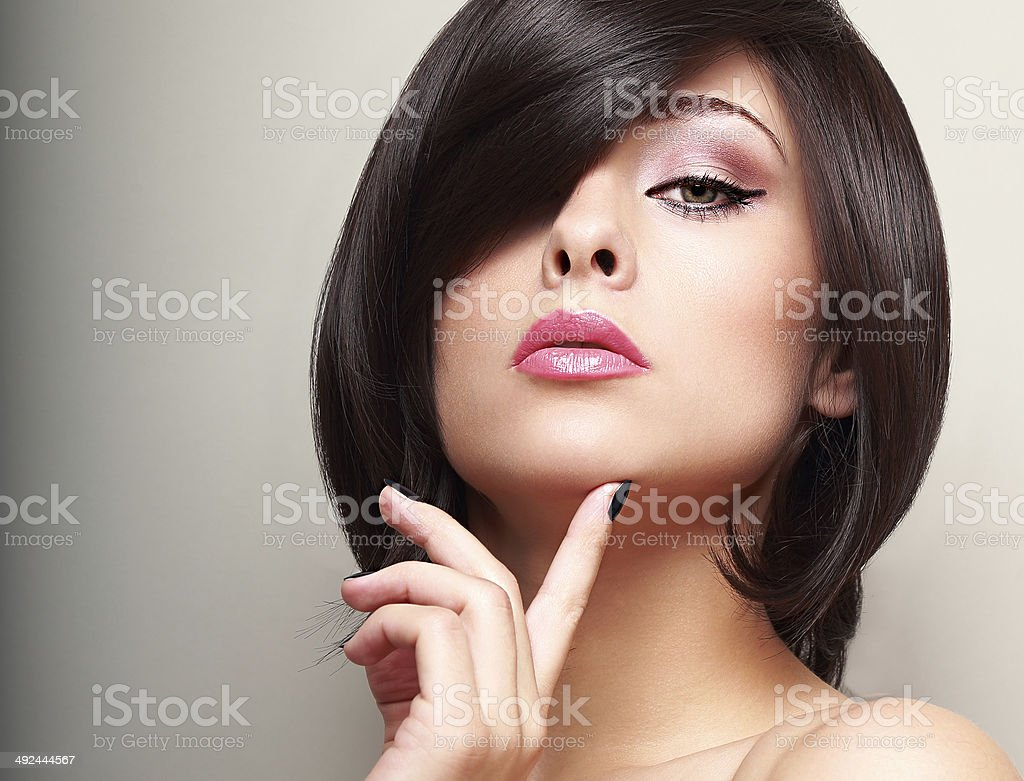 Sexy black short hair style female model looking royalty-free stock photo