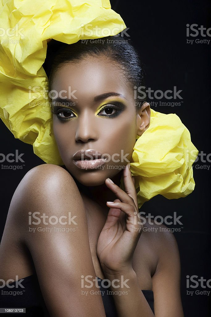 sexy black woman with yellow make-up royalty-free stock photo