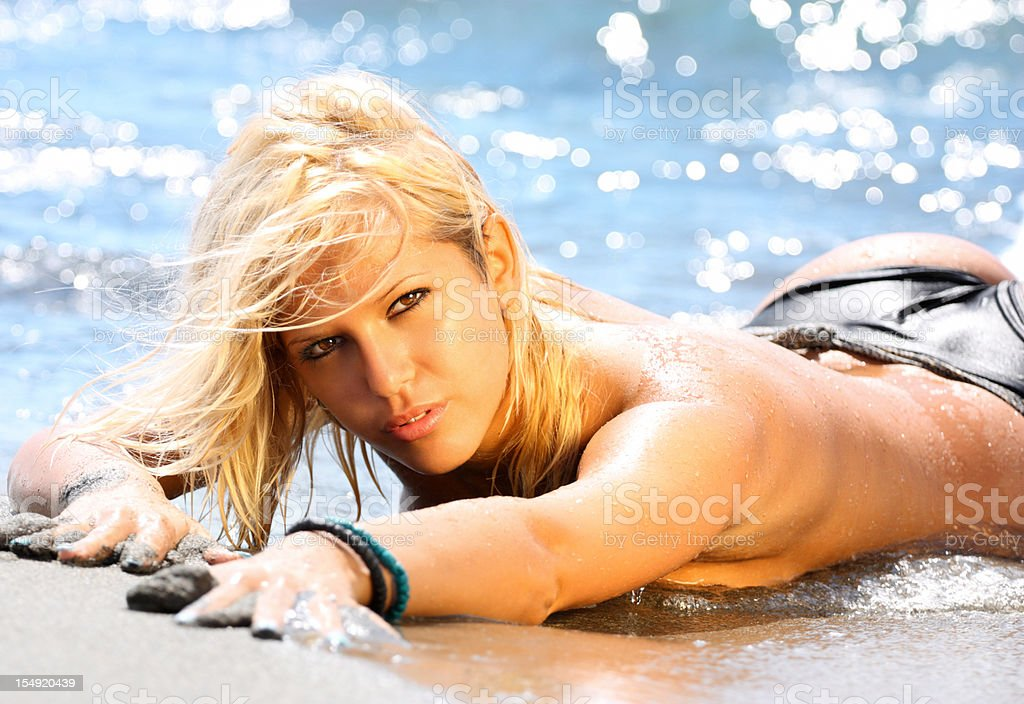Sexy blond at the beach. royalty-free stock photo