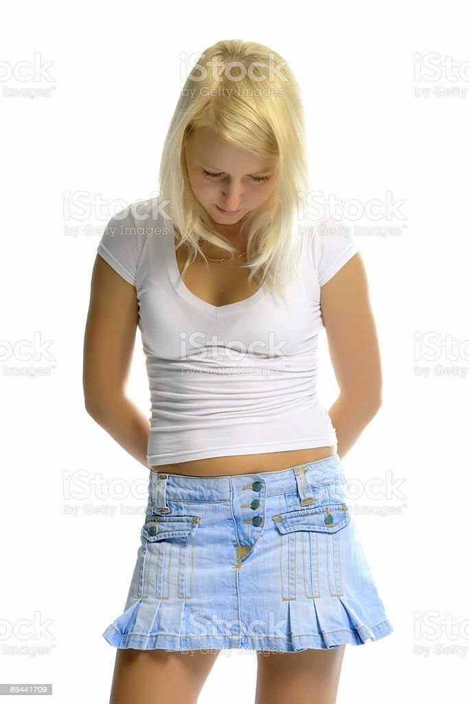 sexy blond girl on white background royalty-free stock photo