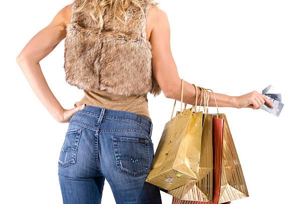 sexy blond kobieta z torby na zakupy – zdjęcie