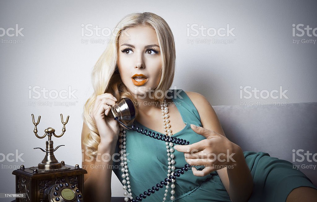 Sexy Blonde on the Phone royalty-free stock photo