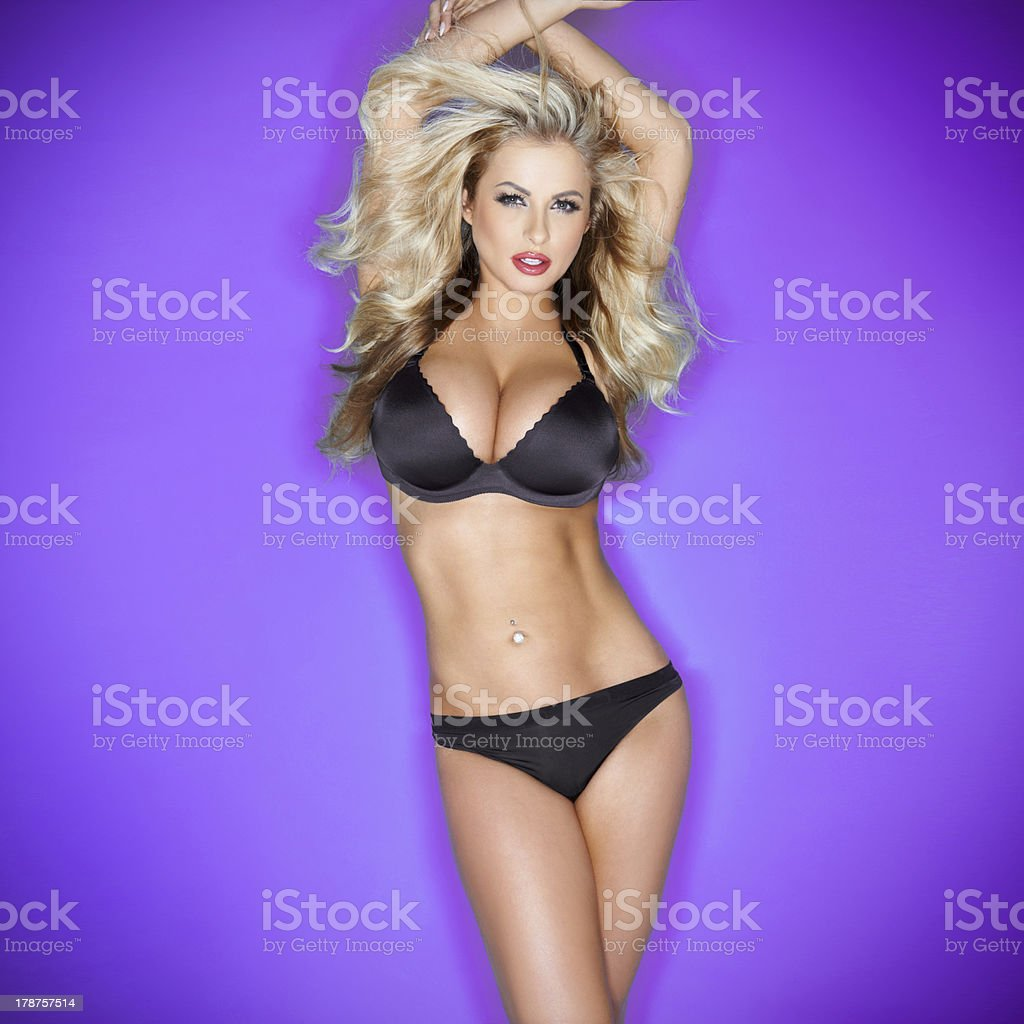 sexy blonde with large breasts in lingerie stock photo & more