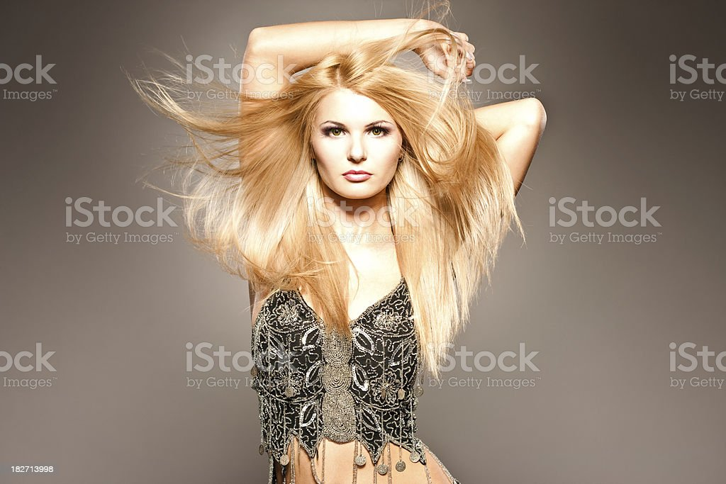 Sexy blonde with long hair royalty-free stock photo