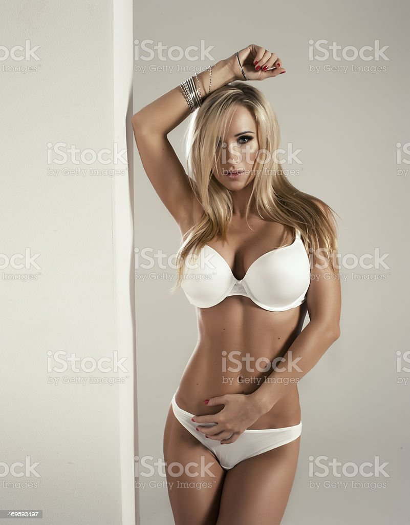 sexy blonde woman in white lingerie stock photo & more pictures of