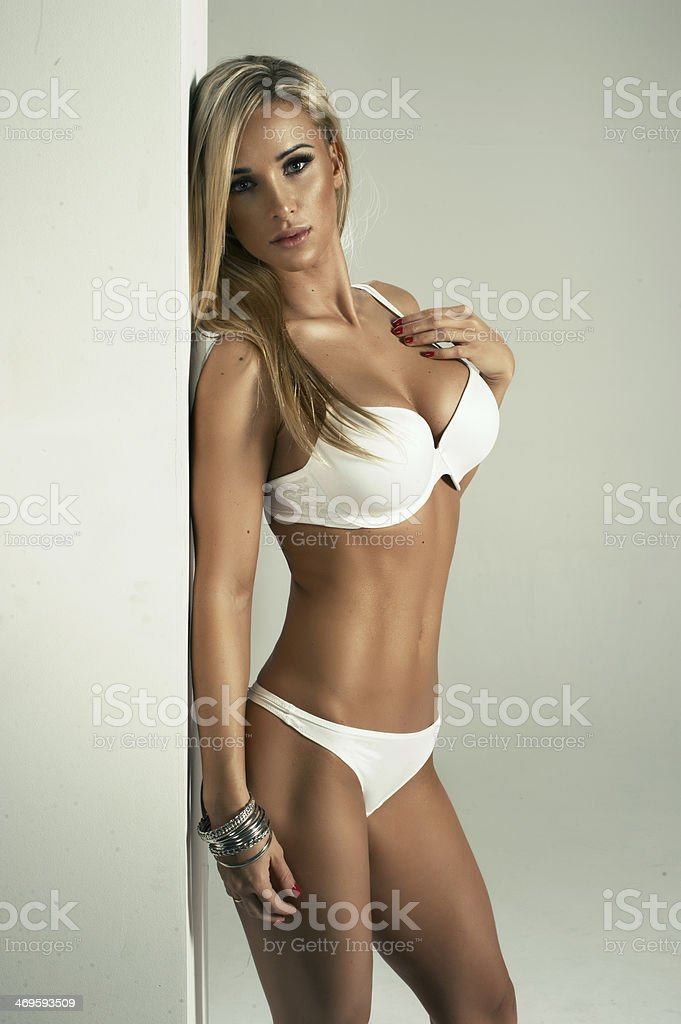 Sexy Blonde Woman In White Lingerie Stock Photo Amp More