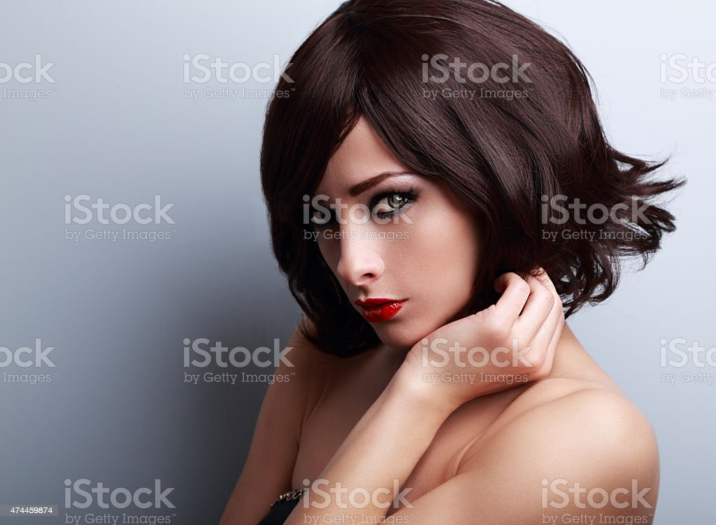 Sexy Bright Makeup Woman With Short Black Hair Style Stock Photo