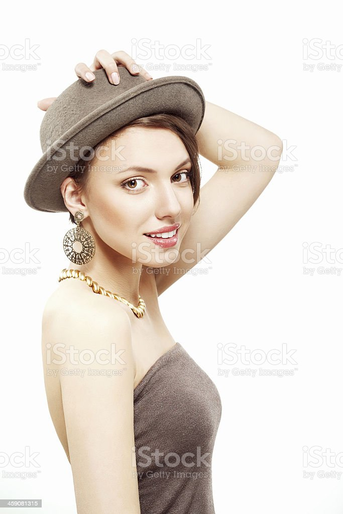 sexy brunette girl in hat stock photo