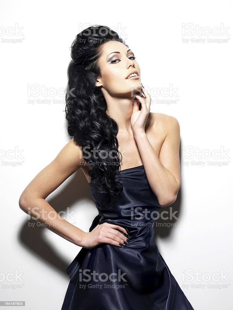 Sexy brunette woman with long hair royalty-free stock photo