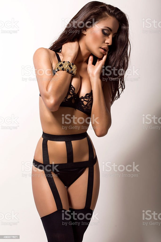 6d6e8034d Sexy Brunette Woman With Tanned Body In Lingerie Stock Photo   More ...