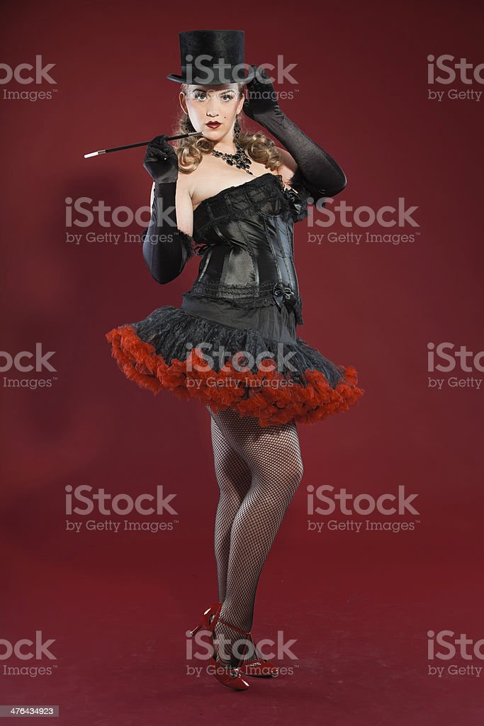 Sexy burlesque pin up woman with long blonde hair. stock photo