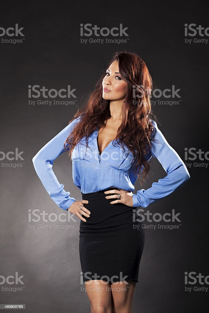 Sexy businesswoman posing stock photo