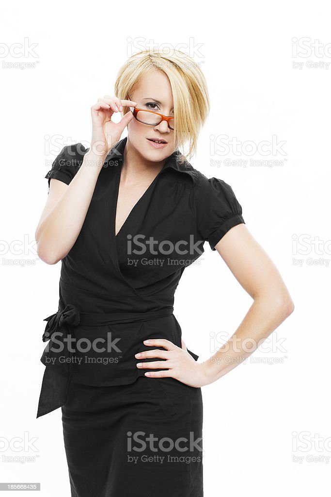 Sexy businesswoman take off glasses royalty-free stock photo