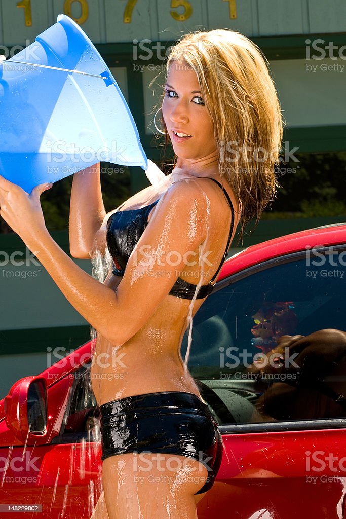 Sexy Car Wash Girl With Bucket Of Water Stock Photo  More -6549
