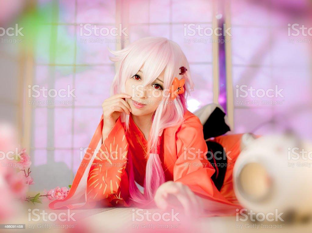 sexy cosplay girl  sakura Washitsu in tatami room stock photo