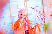 セクシーなコスプレガール桜和室、畳のお部屋で