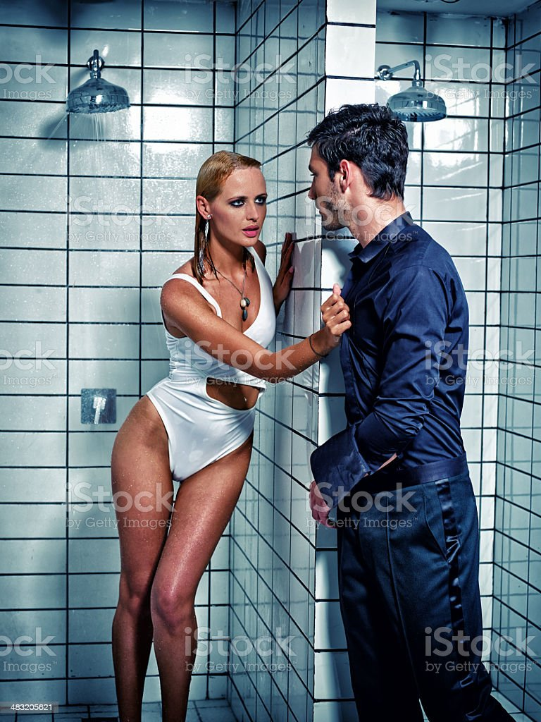 Sexy couple  in the shower stock photo