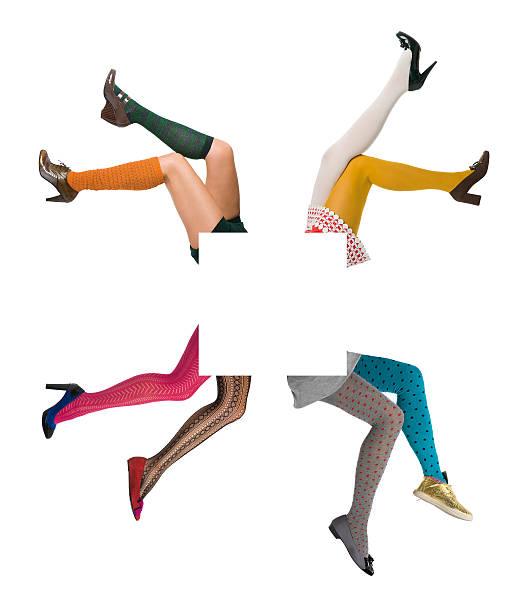 sexy mode weibliche beine weise geändert werden copyspace - druck strumpfhosen stock-fotos und bilder