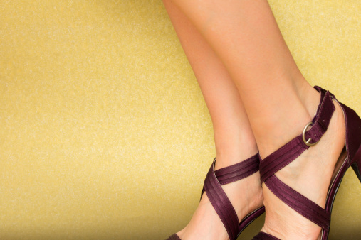 Sexy Feet In Satin Sandals Stock Photo - Download Image Now