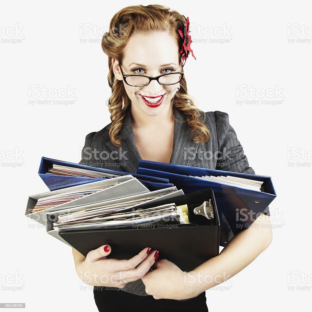 Sexy Female College Student Holding Notebooks and Smiling. Isolated royalty-free stock photo