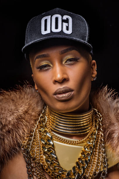 Sexy Female Golden Gangster Rapper Women stock photo