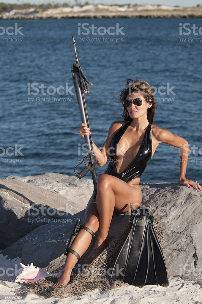 Sexy Female Sport Underwater Diver in Swimwear stock photo
